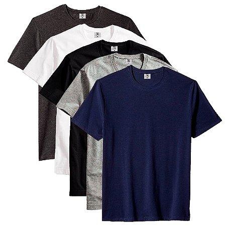 Kit com 5 Camisetas Masculina Básica Algodão Part.B Premium Caicos