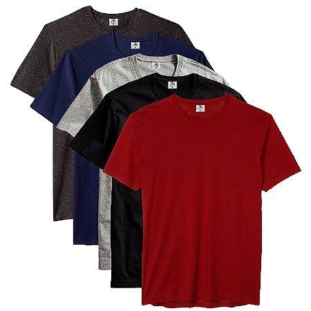 Kit com 5 Camisetas Masculina Básica Algodão Part.B Premium Flamenco