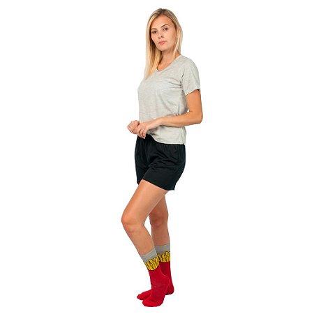 Conjunto Pijama Short Dolll Básico Part.B Cinza e Preto