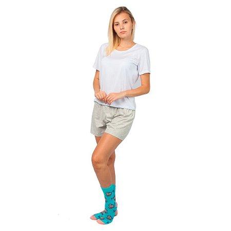 Conjunto Pijama Short Dolll Básico Part.B Branco e Cinza