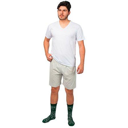 Conjunto Pijama Masculino Básico Verão Branco e Cinza