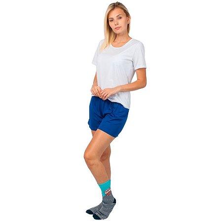 Conjunto Pijama Short Dolll Básico Branco e Azul