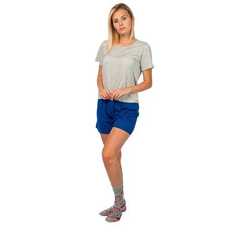 Conjunto Pijama Short Dolll Básico Cinza e Azul