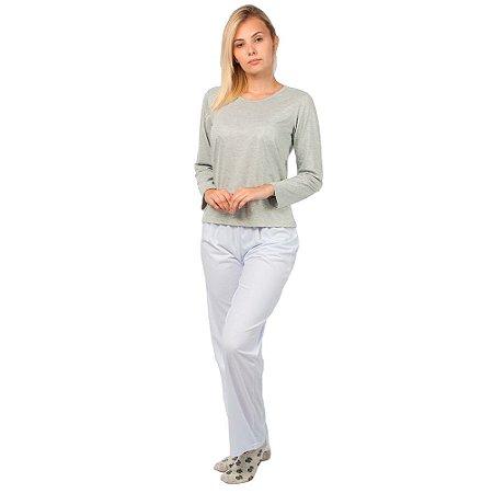 Conjunto Pijama Feminino Básico Manga Longa Cinza e Branco