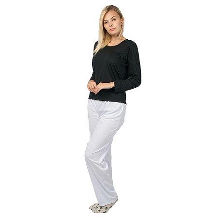 Conjunto Pijama Feminino Básico Manga Longa Preto e Branco