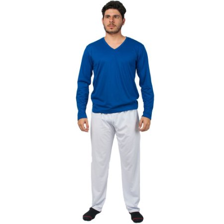 Conjunto Pijama Masculino Básico Manga Longa Azul e Branco