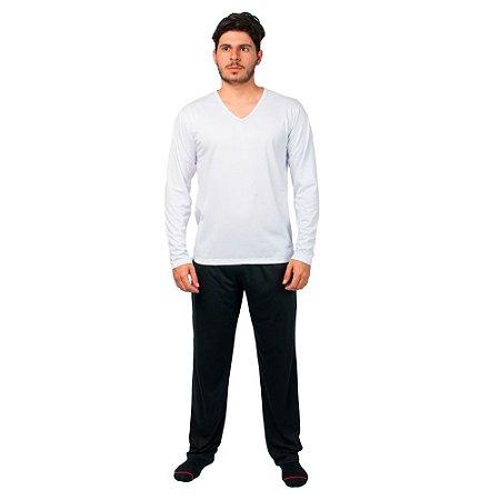 Conjunto Pijama Masculino Básico Manga Longa Branco e Preto