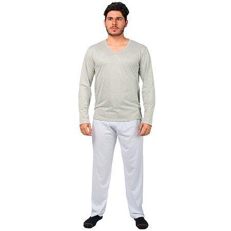 Conjunto Pijama Masculino Básico Manga Longa Cinza e Branco