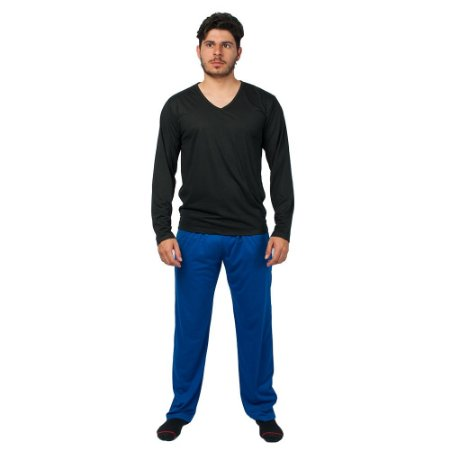 Conjunto Pijama Masculino Básico Manga Longa Preto e Azul