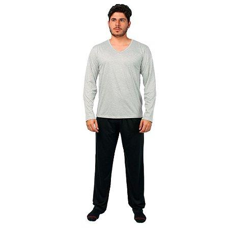 Conjunto Pijama Masculino Básico Manga Longa Cinza e Preto