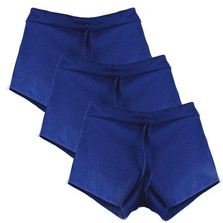 Kit 3 Shorts Canelado Fashion Feminino Azul