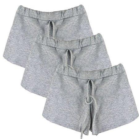 Kit 3 Shorts Canelado Fashion Feminino Cinza