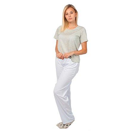 Pijama Feminino Manga Curta Básico Cinza e Branco