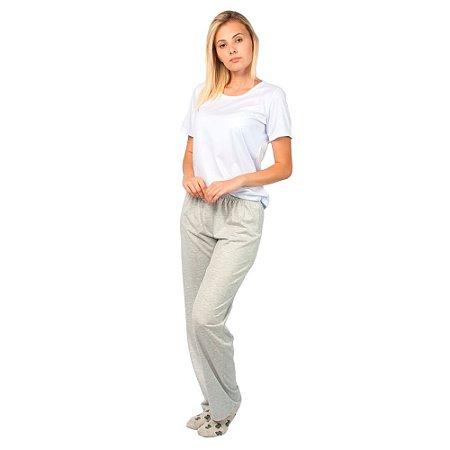 Pijama Feminino Manga Curta Básico Branco e Cinza