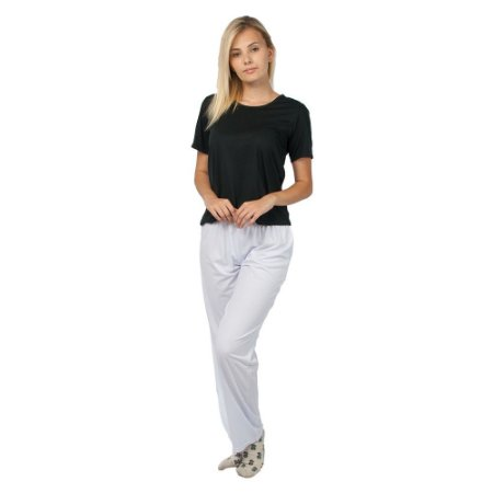 Pijama Feminino Manga Curta Básico Preto e Branco