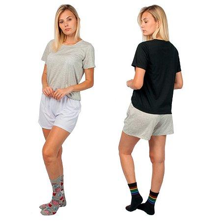 Kit 2 Conjunto de Pijamas Short Dolll Básico Part.B Cinza, Branco e Preto