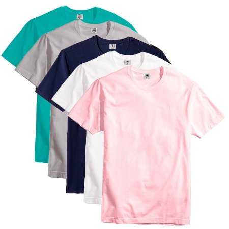 Kit Com 5 Camisetas Slim Masculina Básica Algodão