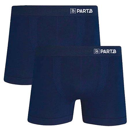 Kit com 2 Cuecas Boxer Seamless Part.B Sem Costura Masculino Azul