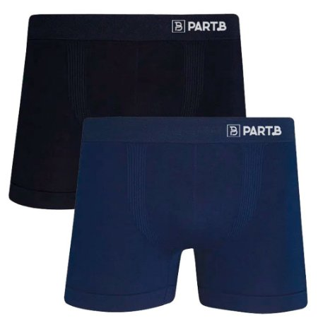 Kit com 2 Cuecas Boxer Seamless Part.B Sem Costura Masculino Azul e Preto