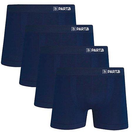 Kit com 4 Cuecas Boxer Seamless Part.B Sem Costura Masculino Azul