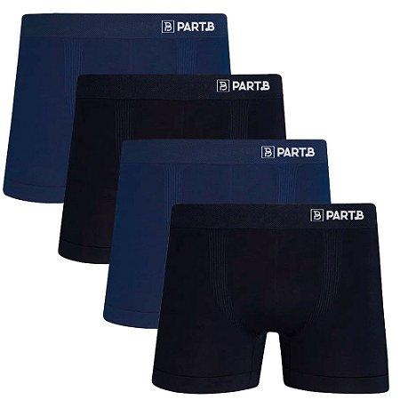 Kit com 4 Cuecas Boxer Seamless Part.B Sem Costura Masculino Azul e Preto