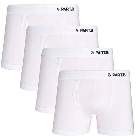 Kit com 4 Cuecas Boxer Seamless Part.B Sem Costura Masculino Branco