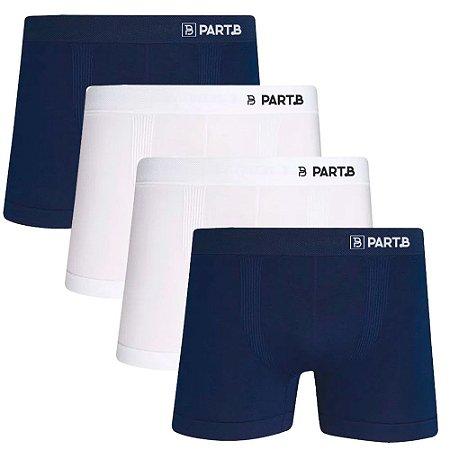 Kit com 4 Cuecas Boxer Seamless Part.B Sem Costura Masculino Azul e Branco