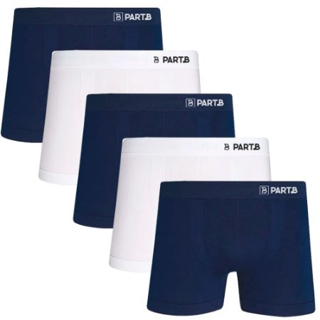 Kit com 5 Cuecas Boxer Seamless Part.B Sem Costura Masculino Azul e Branco