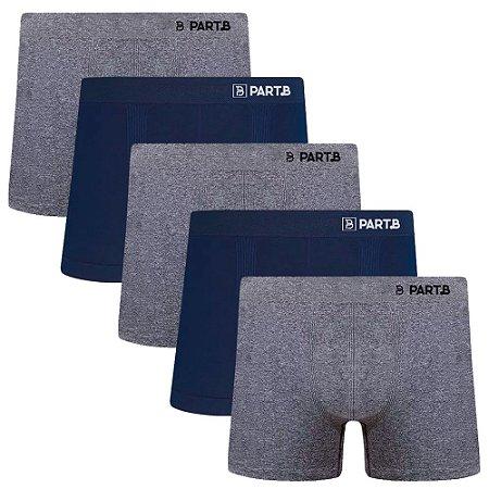 Kit com 5 Cuecas Boxer Seamless Part.B Sem Costura Masculino Azul e Cinza