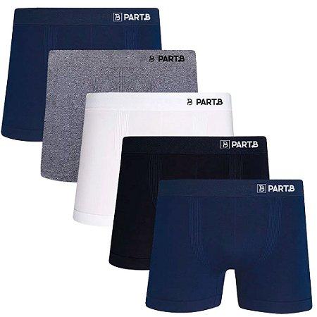 Kit com 5 Cuecas Boxer Seamless Part.B Sem Costura Masculino Sortidas