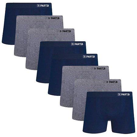 Kit com 8 Cuecas Boxer Seamless Part.B Sem Costura Masculino Azul e Cinza