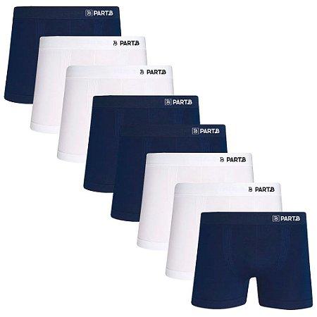 Kit com 8 Cuecas Boxer Seamless Part.B Sem Costura Masculino Azul e Branco