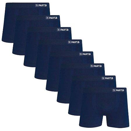 Kit com 8 Cuecas Boxer Seamless Part.B Sem Costura Masculino Azul