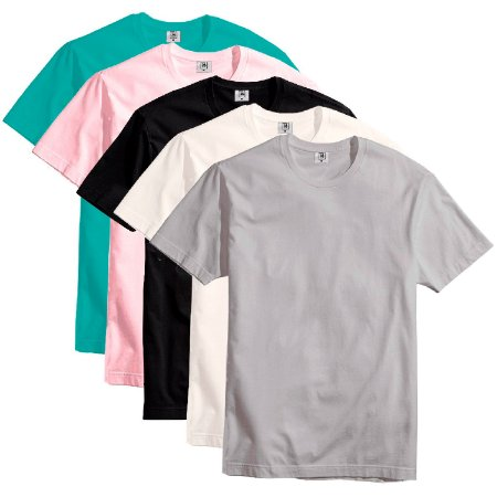 Kit com 5 Camisetas Slim Masculina Básica Algodão Part.B Maya