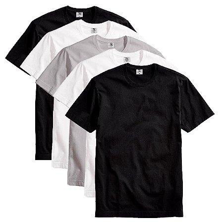 Kit com 5 Camisetas Slim Masculina Básica Algodão Part.B Colors