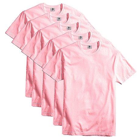 Kit com 5 Camisetas Slim Masculina Básica Algodão Part.B Rosa