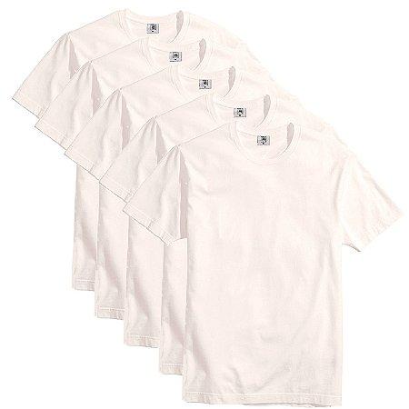 Kit com 5 Camisetas Slim Masculina Básica Algodão Part.B Natural
