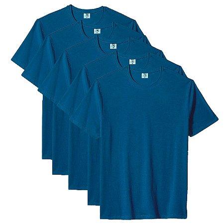 Kit com 5 Camisetas Slim Masculina Básica Algodão Part.B Azul