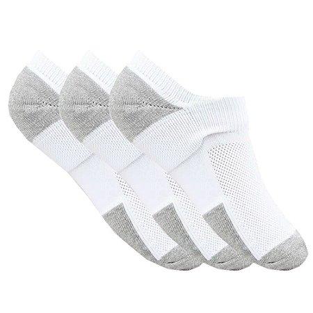 Kit de 3 meias femininas invisível esportivas Branca neon