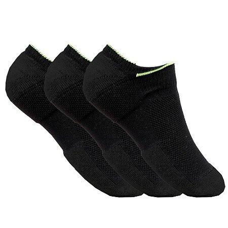 kit de 3 meias femininas invisível esportivas Preta neon