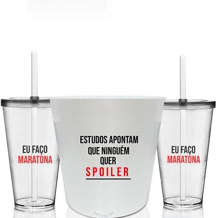 Kit Balde de Pipoca e 2 Copos Personalizados - Spoilers