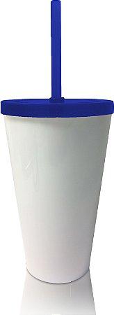 Copo Shake com Tampa Branco e Azul 550ml - Acrilico PS