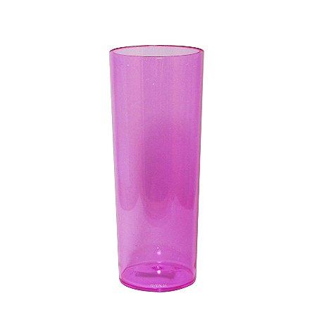 Copo Long Drink Tubo Roxo para festas 300ml - Poliestireno Acrilico PS