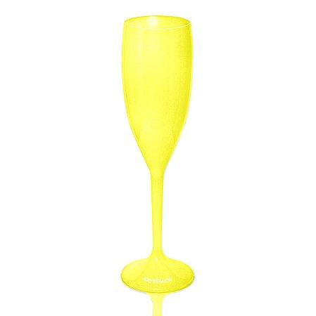 Taça de Champagne Amarela 170ml - Poliestireno Acrilico Ps