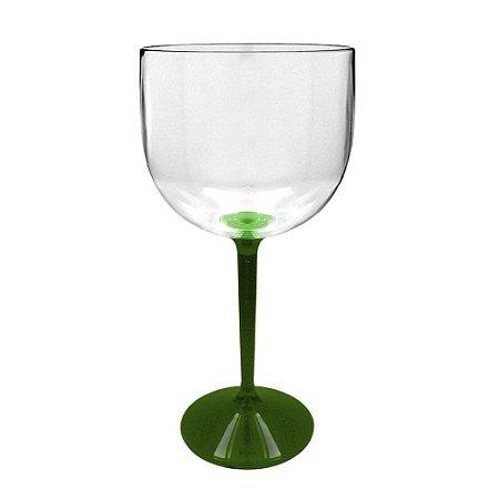 Taça Gin  550ml  Acrílico Bicolor com Haste Verde