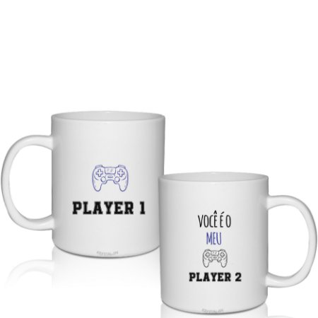 Kit 2 Canecas 300ml - Dias dos Namorados - Você é o meu Player
