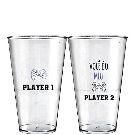 Kit 2 Copo Big Drink 550ml - Dias dos Namorados - Player 1 e Player 2