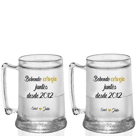 Kit 2 Caneca Gel 400ml - Dias dos Namorados - Bebendo Cerveja Juntos