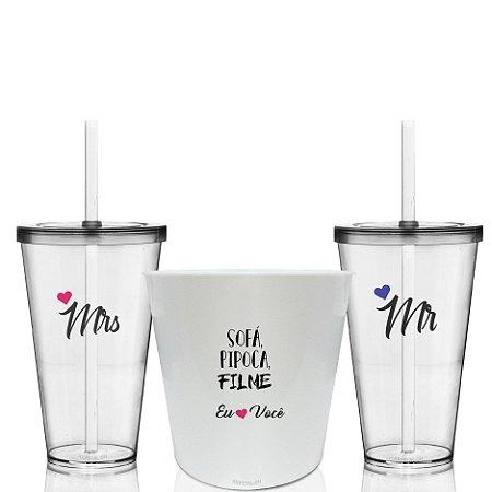 Kit Balde de Pipoca + 2 Copos Personalizados Namorados Mrs e Ms