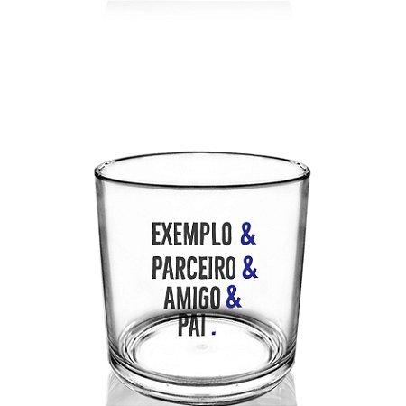 Copo Personalizado whisky 320ml Criativo Dia dos Pais Presente Lembrancinha - exemplo e parceiro e amigo